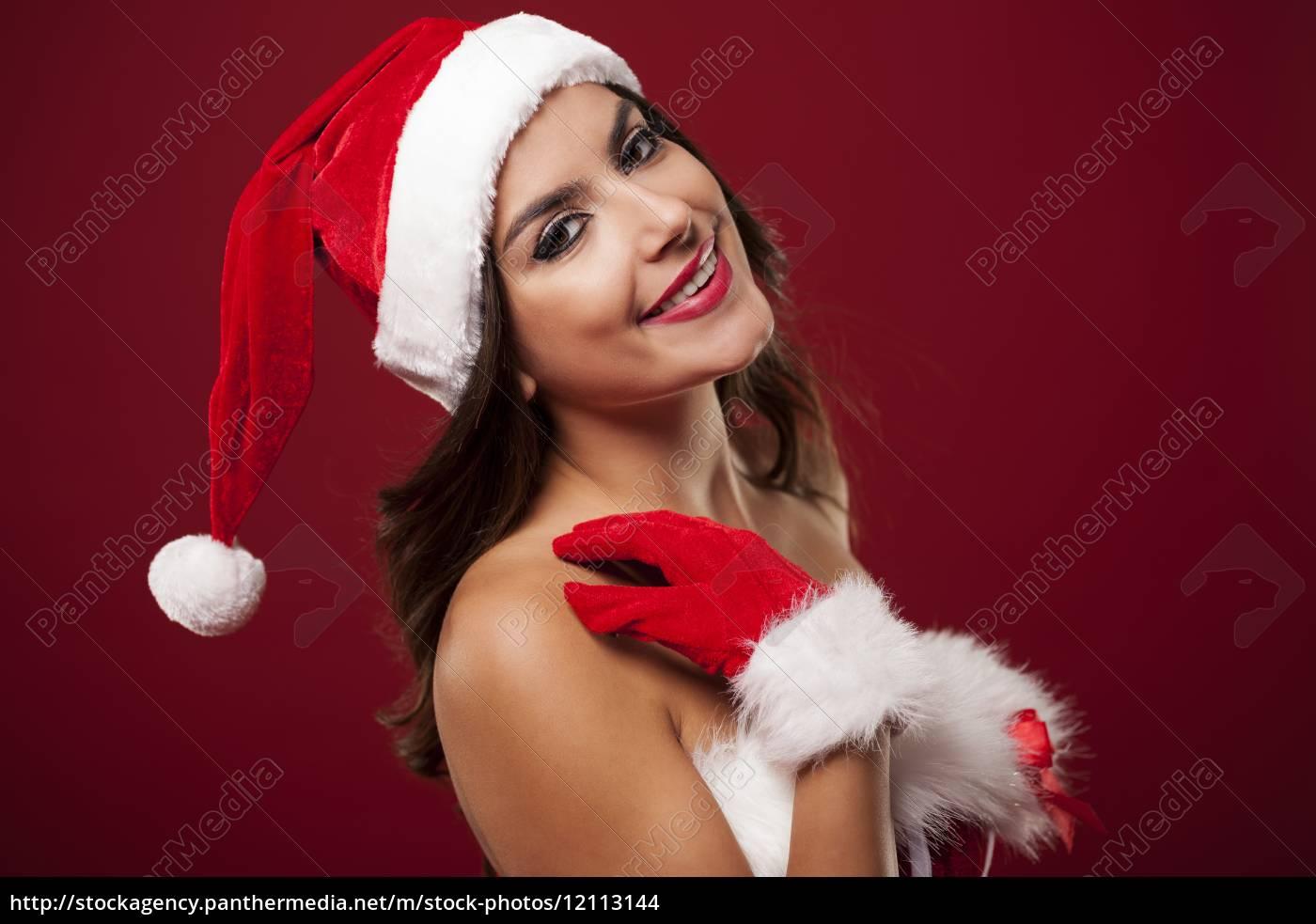 beauty, and, smiling, woman, wearing, santa - 12113144