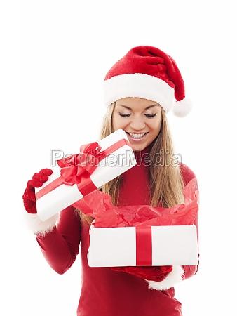 bella, donna, apertura, regalo, di, natale - 12113460