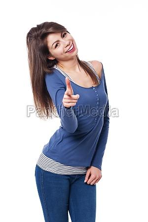 donna, sorridente, che, punta, verso, la - 12113936