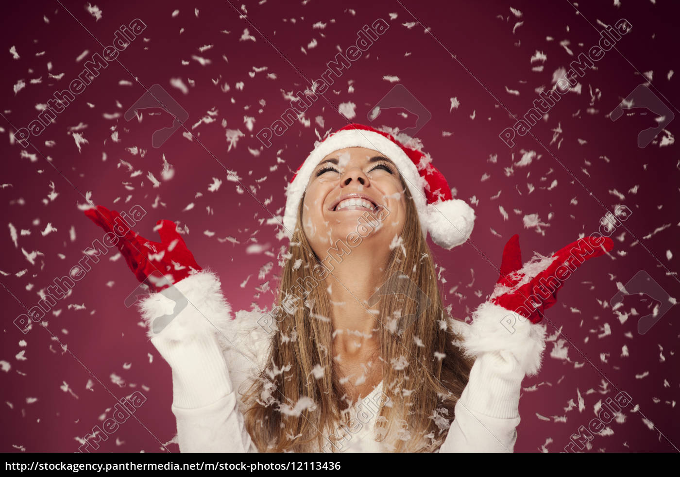 happy, woman, in, the, snow - 12113436
