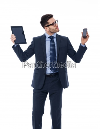 handsome businessman holding in his hands