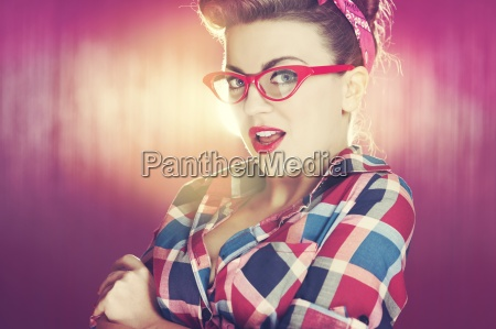 sexy pin up girl with glasses