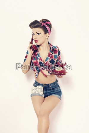 sexy woman on retro telephone