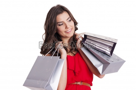 elegant woman with silver shopping bags