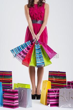 fashion woman holding shopping bags