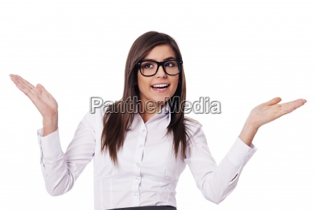 happy woman with hands raised