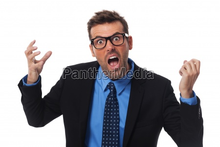 angry businessman screaming very loud