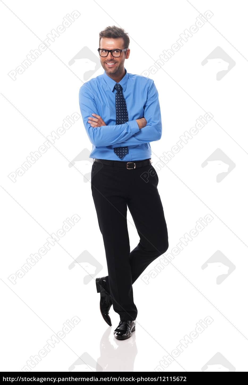 ritratto, di, uomo, d'affari, sorridente, con - 12115672