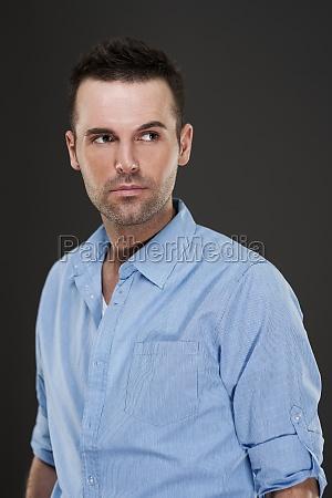 portrait of handsome pensive man