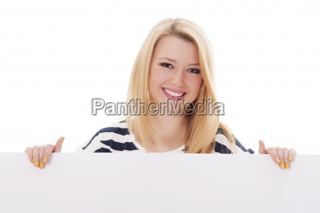 young blonde woman with whiteboard