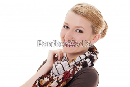 cheerful woman with autumn scarf