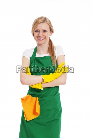 cheerful woman ready for cleaning
