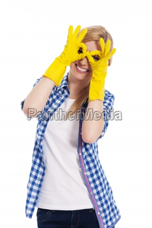 cheerful woman with protective glove making