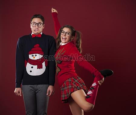 nerdy women flirting with shy man