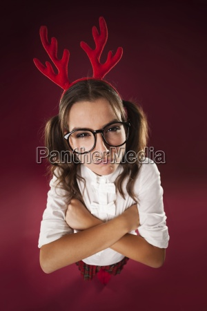 angry nerdy woman in christmas time