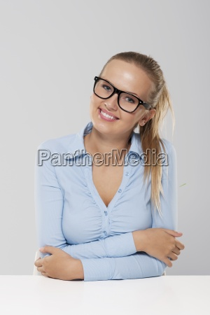 portrait of beautiful and smiling businesswoman