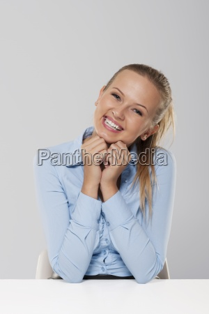 portrait of cute blond businesswoman