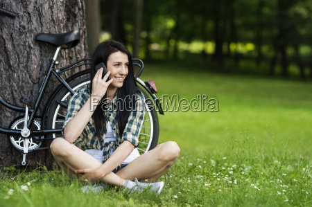 beautiful young woman on the phone