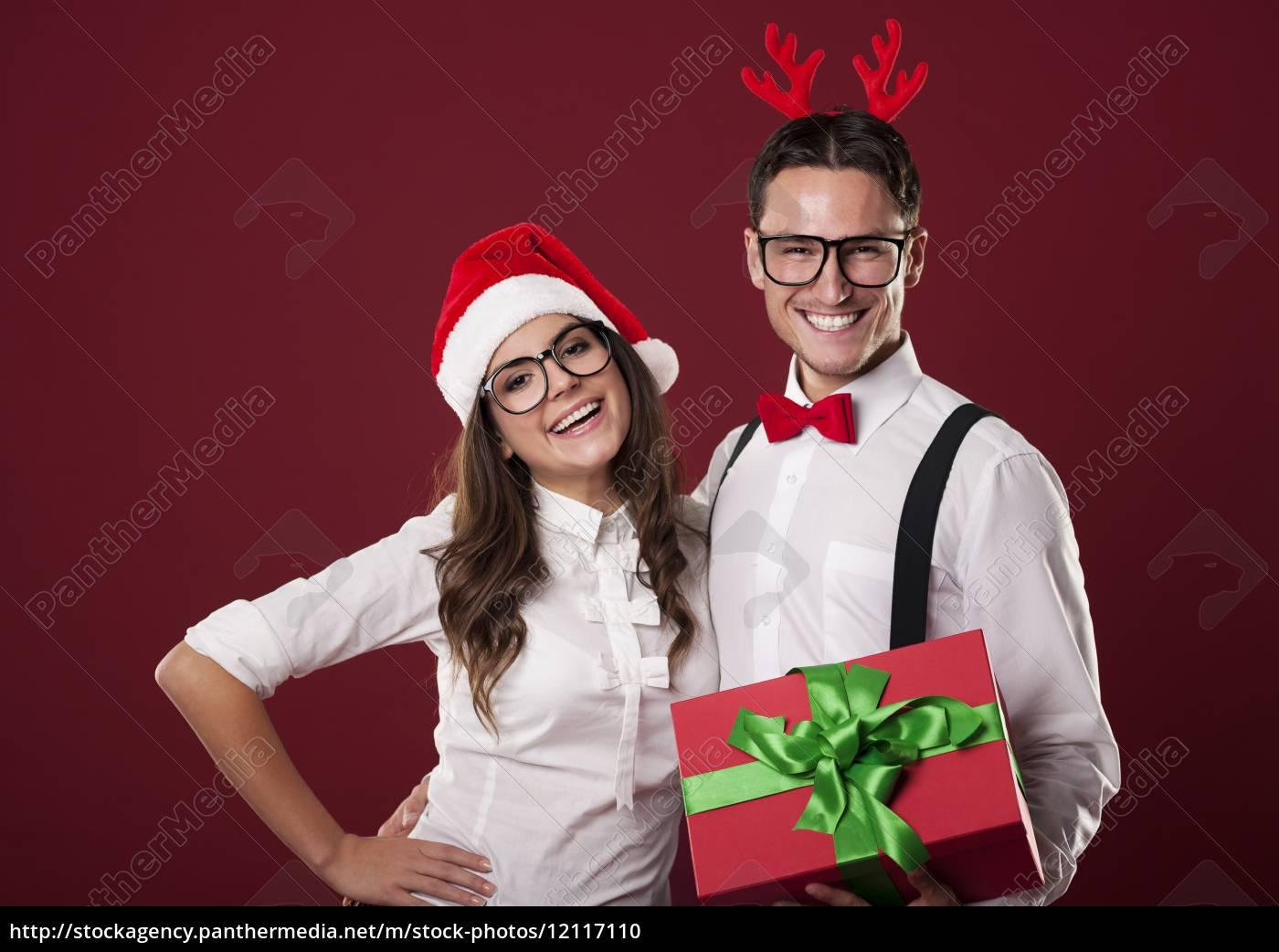 coppia, nerd, sorridente, in, possesso, di - 12117110