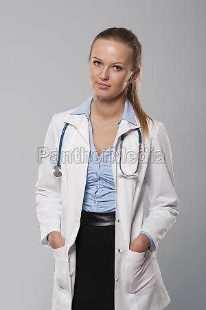 portrait, of, beautiful, blonde, female, doctor - 12117638