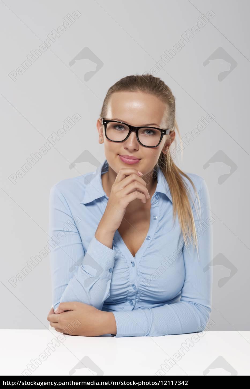 portrait, of, smiling, blond, businesswoman, wearing - 12117342