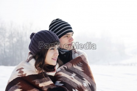 young couple in winter