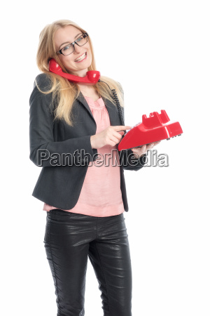 business woman with red phone