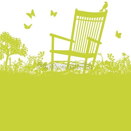 sedia a dondolo in giardino