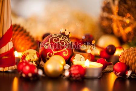 warm golden and orange christmas decoration