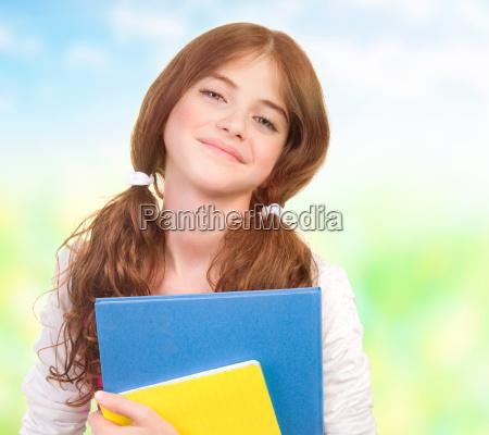 educazione ritratto scolara libri adolescente teenager