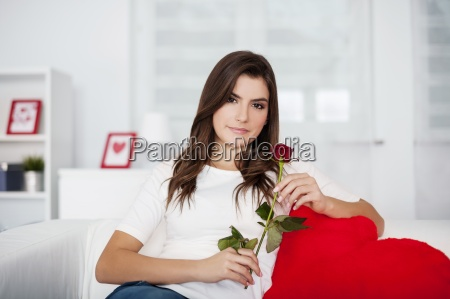 beautiful woman with red rose