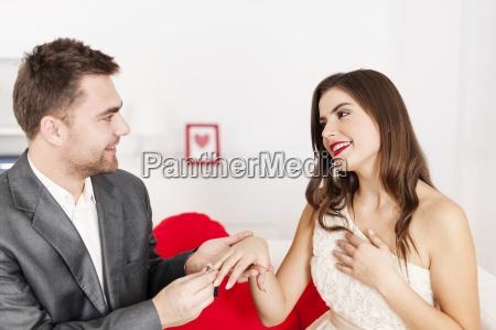 man putting a wedding ring on