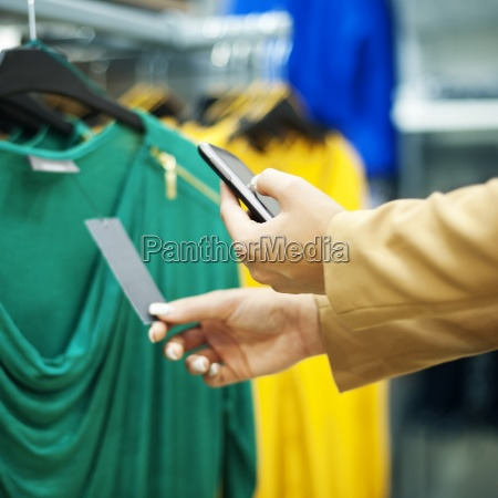 scanning a qr code in shopping