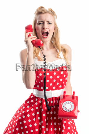 a pin up girl yells into