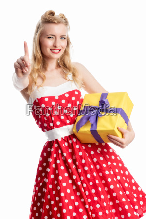 pinup girl with gift