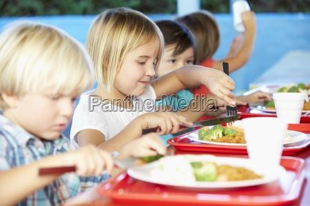 alunni elementari godendo pranzo sano in