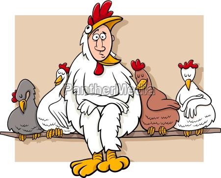 illustrazione gallina fumetto cartone animato gallo
