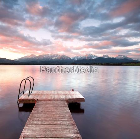 alpi alba ponte equilibrio rosseggiare acqua