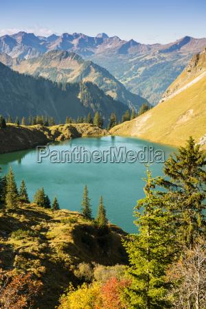 lago in algovia con le montagne