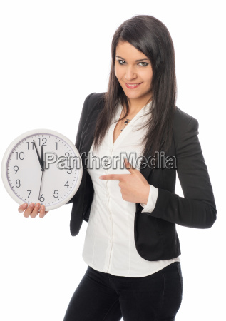 young employees points to clock