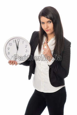 office workers with clock