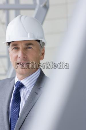 close up portrait of smiling architect