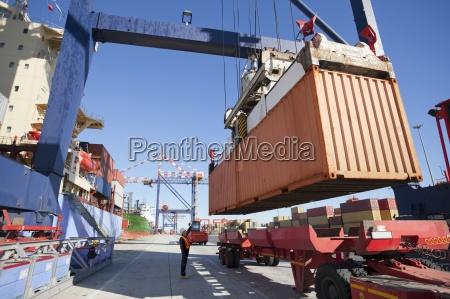 gru container scarico nave al molo
