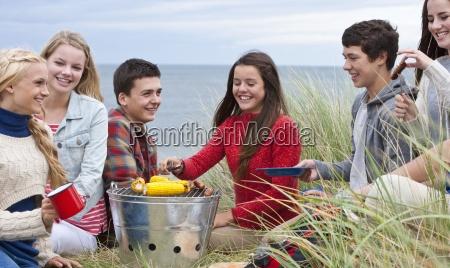 amici adolescenti godendo barbecue in erba