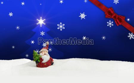 greeting card santa clause snow blue