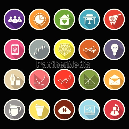 virtual organization flat icons with long