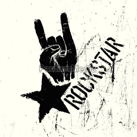 rockstar simbolo con segno del gesto