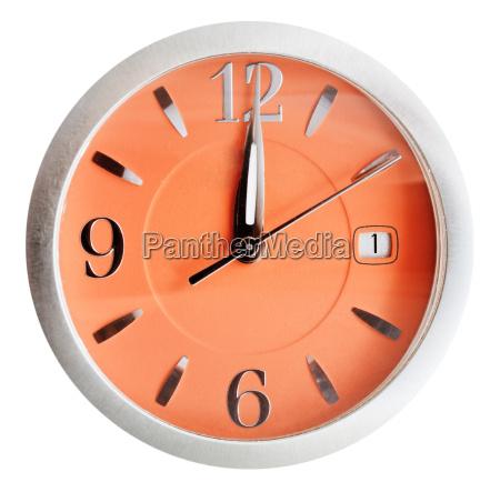 twelve oclock on orange dial isolated