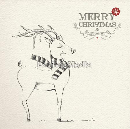 illustrazione di renna unica di natale