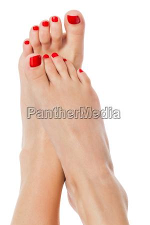 slim sexy piedi femminili con cura